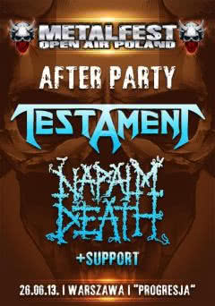 Napalm Death i Testament na After Party MetalFest 2013